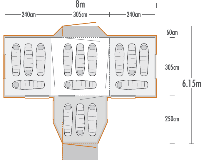 Takahe 15 Family Dome Tent plan view
