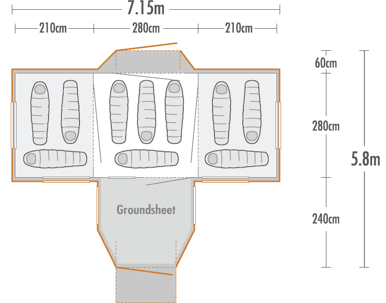 Takahe 10 Family Dome Tent plan view