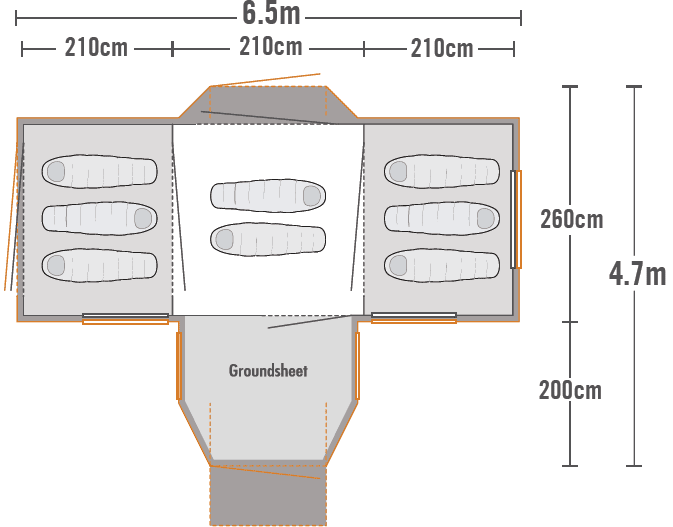Takahe 8 Family Dome Tent plan view