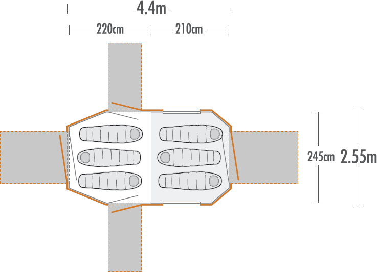 Kea 6 Recreational Dome Tent plan view
