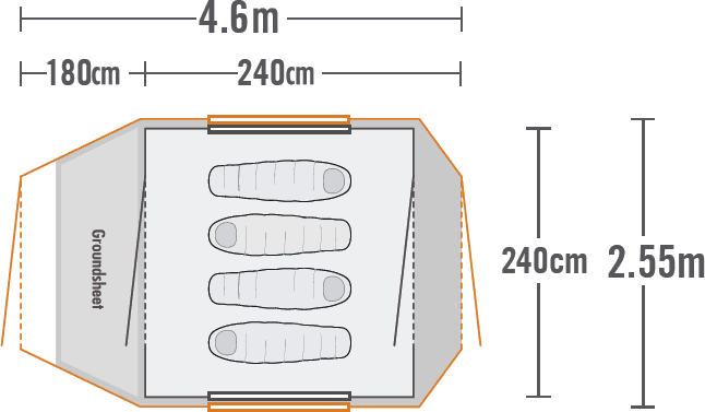 Kea 4E Recreational Dome Tent plan view