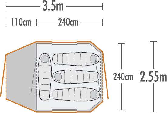 Kea 4 Recreational Dome Tent plan view