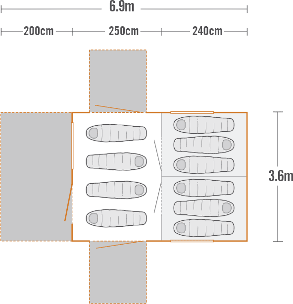Kakapo 10 Canvas Tent plan view