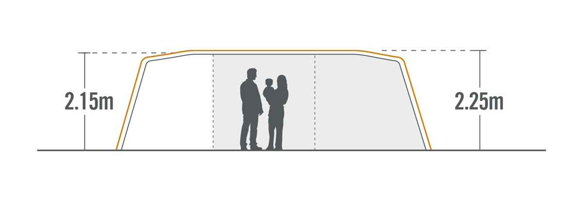 Falcon 9 Air Family Dome Tent cross section view