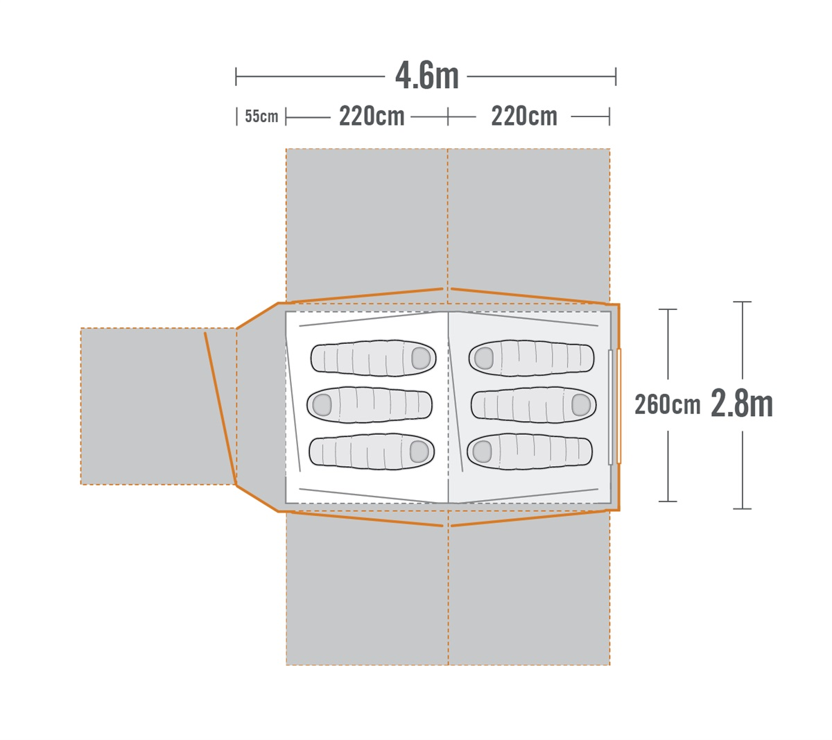 Falcon 6 Air Family Dome Tent plan view