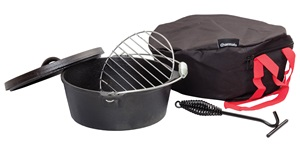 Charmate 4.5 Quart Round Cast Iron Camp Oven Kit