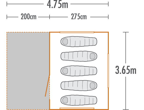 Kakapo 5 Canvas Tent plan view